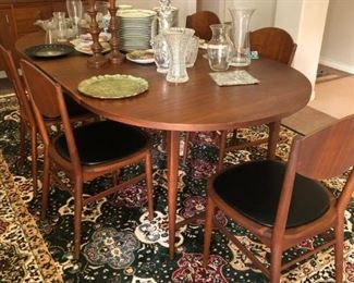 Danish style dining room table and chairs
