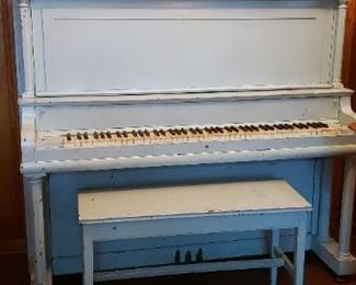 antique blue piano
