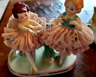 $40 - Twin Ballerina Dresden Figurines