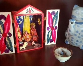 $20 - Cat Teapot   $10 - Japanese Dish   SOLD - Nativity Scene