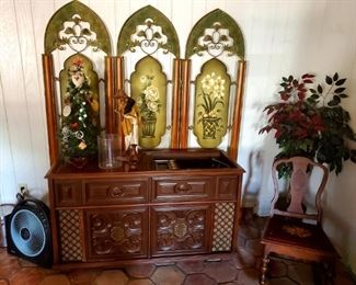 $50 - Tin Room Divider      $300 - Magnavox Astro - Sonic Turntable Console