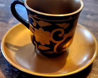 $10 -Gold & Black Acrylic Demi Tasse Cup & Saucer
