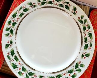 $200 - Whole Set - Royal Limited China - Holly Holiday Set; Huge box of dinner plates, saucers, cups, bowls, service pieces