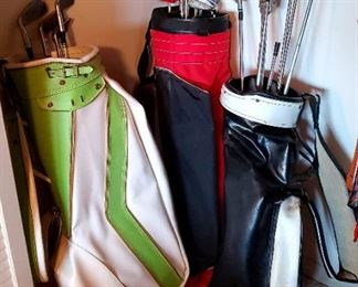 $20 each - Vintage Leather Golf bags   $10 each - Clubs