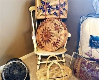 $20 - Honeywell Fan $20 - Woven Palm Basket Large Woven Palm Baskets - BOTH SOLD
