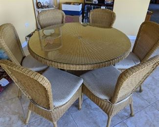 Wicker table with 6 chairs - $450