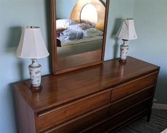 Mid-century Lane dresser with mirror - $450