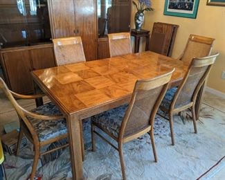 Dining table with 6 chairs. Includes 2 leafs inserts and felt cover pads - $650