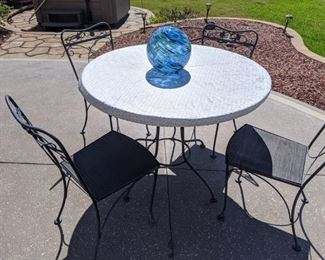 Iron patio table with 3 chairs - $125