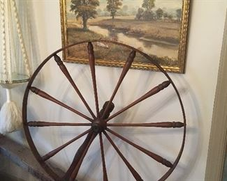 Sidney King Painting. Antique Spinning Wheel.
