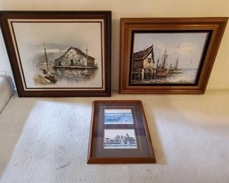 """1004: 3 Signed Framed Pieces of Art Measures approx from 21""""x16"""" to 26""""x30"""". Appears to be signed by A. Pope, Ted Crome and Florence"""
