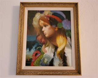 1050:Framed Canvas Painting-Signed Appears to be signed by Mario Measures Approx 24×20