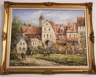 """Framed Original Oil on Canvas by X. Rabous Measures approx 47×37 Famed Australian impressionist painter of landscapes and maritime scenes. Piece  47""""x37""""   Beautiful Oil on canvas. Truly a One of a kind. Born around 1900 and died in the 1950's. Beautiful original piece to add to any collection. Sells at Bid Fast And Last's Huntington Beach  Estate Auction no reserves on March 29th! Preview is available March 29th. Pre-bidding is open NOW: https://bid.bidfastandlast.com/ui/auctions/48660. Feel free to call or text 844-824-3669 with any questions"""