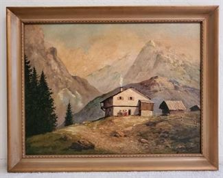 1055: Framed Canvas Painting-Signed Artists Unknown, Measures Approx 28×22