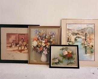 1071: Framed Art Work Measures approx 14×18-24×30