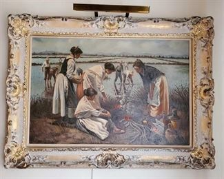 """1521: Signed Framed Painting by H. Robertson Measures approx. 34""""x44"""""""