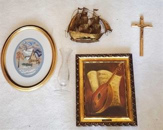 """1524: 2 Framed Pieces of Art Work, Crucifix, Metal Boat and Glass Vase Measures approx from 9""""x11"""" to 13""""x16"""""""