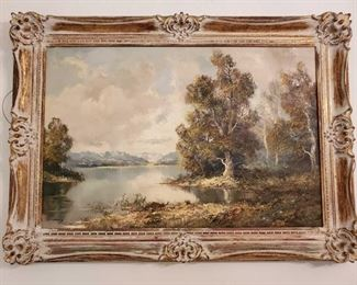 1074: Framed Painted Canvas Measures approx 32×44