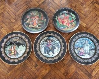 1507: 5 Decorative Plates with Stands Includes plates by Zar Saltan, Zar Bär, Morozko, and More