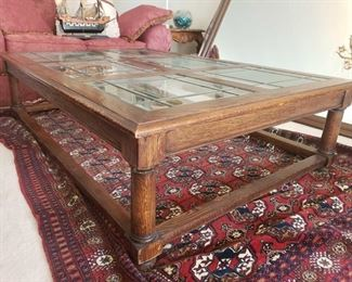 """1550: Glass Top Wooden Coffee Table Measures approx 60"""" x 42"""" x 16"""""""