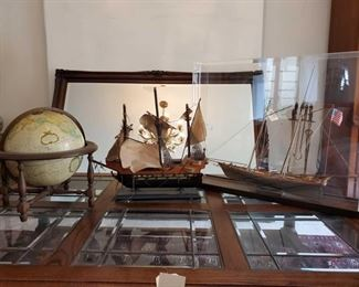 """1527: 2 Model Ships and 1 Globe Ships measure approx from 21""""x20"""" to 29""""x24"""" Globe measures approx 15""""x16"""""""