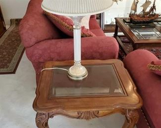"""1553: 2 Barker Bros. End Tables, 2 Lamps and 1 Glass Bowl Tables measure approx 23""""x28"""" Lamps measure approx 17""""x29"""""""