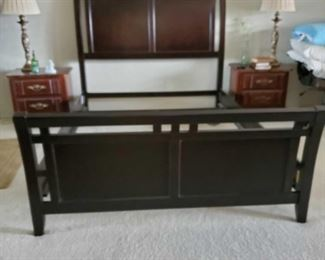 Bark Brown Sled Bed from Big Lots 5' wide Appox 7 feet long and 5' feet wide Sled bed. Nightstands not included