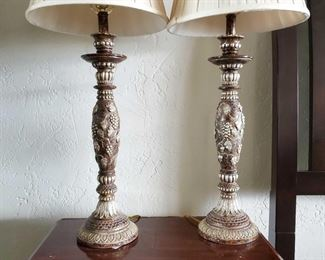 """2 Beautiful Vineyard Inspired Lamps Measures 37"""" tall with lamp shades"""