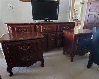 """Dresser and 2 Night Stands with Brass Handles 60"""" tall 25"""" long. 16"""" deep. Dresser 62 """" long 18"""" deep 31"""" tall"""