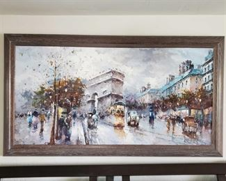 """Orginal Painting by J. Gaston Measures 54"""" long and 30"""" long includes the Frame"""
