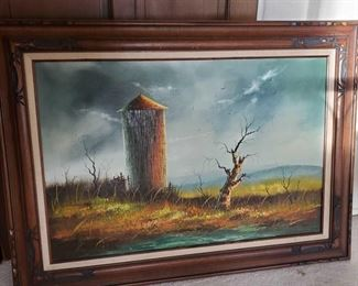 """Vintage Oil Panting with Frame by Everett Woodson Measures 44"""" long 35"""" tall Missouri - Known for """"Rural scenes with Barns""""  Everett Woodson was born September 3, 1933 in Independence Missouri.  He is known for his """"barn"""" paintings.  The central theme of his paintings are barns in different types of settings, seasons and locations.  Collectors of Woodson's work often will seek particular settings or certain seasons over others.  His very large oil paintings are especially prized.   It is not surprising that Everett followed the same path as his ancestors, several of whom also achieved national recognition as professional artists. Woodson received his formal training at the Academy of Fine Arts in Kansas City.  Mr. Woodson has earned several awards for his farmhouses and barns including first place at the Missouri State Fair, Mid-America Fine Arts League, and at the Truman Bi-Centennial.  Mr. Woodson's genius is tied to reality and vividness of his subjects. """"His barns are weathered and"""