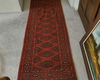 """Authentic 100% Wool Runner Rug Hand Woven Authentic Oriental Rug measures 116"""" long 33"""" wide"""