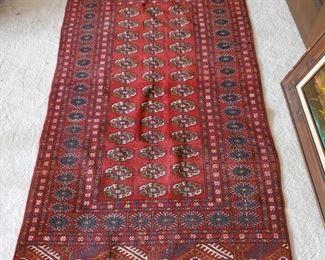 """Hand Woven Wool Oriental Rug Measures 63"""" long 38"""" wide"""