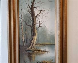 Framed Painted Artwork Measures Approx 19×31, Signature Unknown
