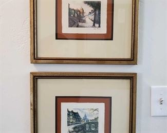 2 Framed Artwork Pieces Signature Unknown, Measures Approx 17×16