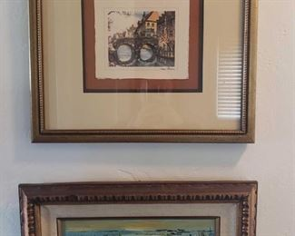 2 Framed Painted Artwork Signatures Unknown, Measures Approx 10×18, 16×17