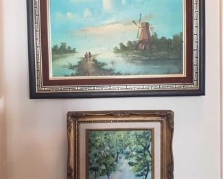 2 Framed Painted Artwork-Signed Appear to be singed by Lucey. Measures Approx 20×16, 12×14
