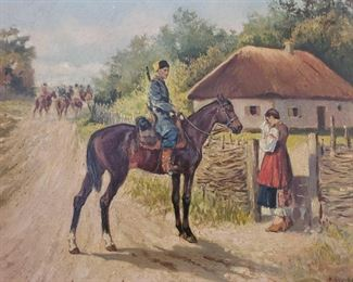 Signed Framed Oil on Canvas By K.Kusenzov. Konstantin Konstantinovich Kuznetsov A Russian Artist  Measures Approx 26×32 Signed Painting By K.Kusenzov. Konstantin Konstantinovich Kuznetsov A Russian Artist Artist biography (1895 - 1980) Konstantin Konstantinovich Kuznetsov was active/lived in Russian Federation. He is known for paintings Konstantin Kuznetsov was born in 1895 in St. Petersburg and became a very well known illustrator in the Soviet Union. As of 1944 he was in a prisoner of war camp in Yugoslavia, and after the war would later live in Munich before emigrating for the United States , where he would continue his career as an illustration artist..Konstantin Konstantinovich Kuznetsov arrived in Los Angeles from Russia in 1948. His illustrations and paintings, influenced by Ilya Repin's historical paintings and Belinin's fairy-tale folk style, quickly found favor with the Russian community In the 1950s, Kuznetsov met the Russian-born Sonia Colefax, who was quickly captivated by