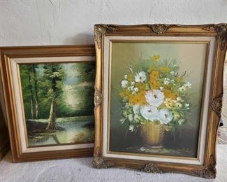 """2 Framed Painted Canvases Measures Approx 22""""×25.5"""", 21""""×25"""""""