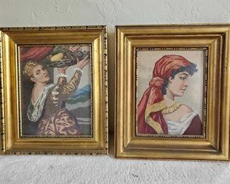 """2 Framed Artwork Measures Approx 14""""×17"""", 15""""×17"""""""