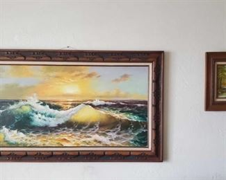 """2 Signed Framed Paintings Artists unknown. Measures approx from 32""""x57"""" to 15""""x17"""" Small painting signed possibly by k mccaine"""