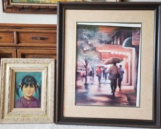 """2 Framed pieces of Artwork 1 painting signed by J. Jerome Mitchell. Measures approx from 17""""x21"""" to 32""""x38"""""""