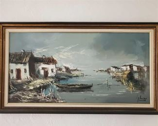 """Framed Paitned Canvas-Signed Signature Unknown, Measures approx 24""""×43"""""""