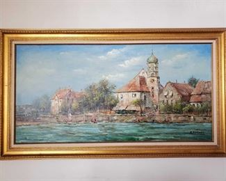 """Framed Painted Canvas- Signed Appear to be signed by X.Rabous. Measures Approx 31""""×55"""""""