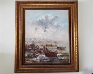 """Framed Painted Canvas-Signed Appears to be signed by Nobert. Measures approx 28""""×32"""""""