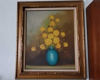 """Framed Canvas Painting - Signed Appears to signed """"White"""", neasures approx 27"""" x 31"""""""