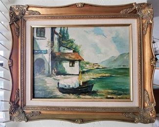 """Framed Canvas Painting Does not appear to be signed, measures approx 22"""" x 18"""""""