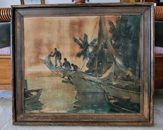 """Framed Artwork - Signed Media and Artist unknown, measures approx 36"""" x 30"""""""