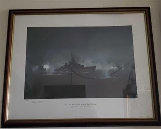 """Framed """"The Little Beavers at the Battle of Cape St George"""" Print by RG Smith Framed """"The Little Beavers at the Battle of Cape St George"""" Print by RG Smith 688/750 Measures approx 30"""" x 24"""""""