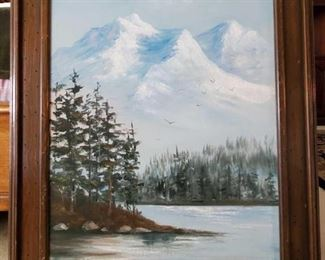 """Framed Canvas Painting - Signed Signed """"Denise"""" , measures approx 25"""" x 31"""""""